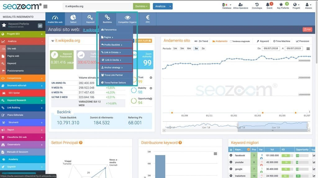 Usare Seozoom per l'analisi SEO