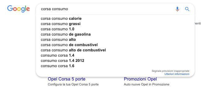 Ricerche consigliate da Google Suggest